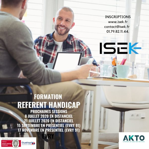 Formation continue Référent Handicap ISEK Evry Qualiopi