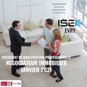 CQP negociateur immmobilier ISEK Evry Essonne Formations