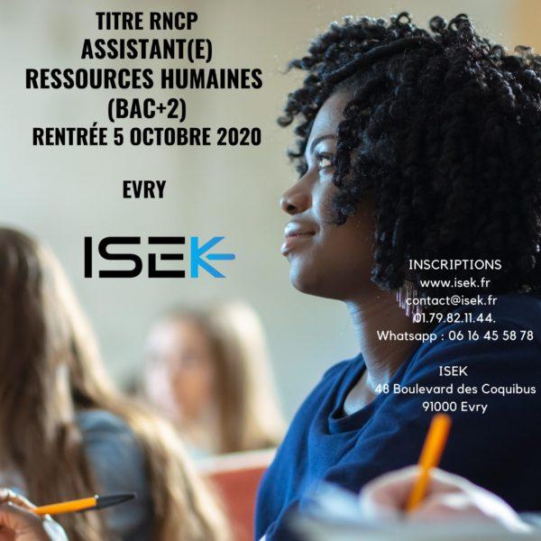 Titre professionnel assistante ressources humaines RNCP formation essonne